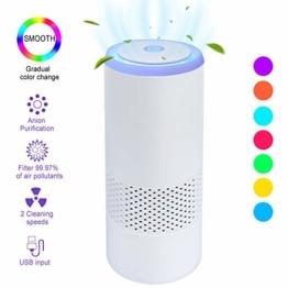 Luftreiniger Auto Allergie HEPA Filter Lonisator, LED Air Purifier 99,97% Filterleistung,2 Geschwindigkeiten USB Luftreiniger für Pollen Haustierallergene Allergiker Raucher Asthmatiker - 1