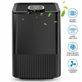Luftreiniger mit echtem HEPA-Filter und Ionisator, 4-Lagen-Filtration und 3-Timer-Funktion, beseitigt Staub, Rauch, Hautschuppen und Pollen für Zuhause und wohnung - 1