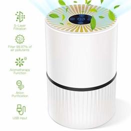 Luftreiniger mit HEPA Filter und Ionisator, Duomishu Air Purifier mit Nachtlicht 3 Timer-Funktion 5 Stufen-Filterung für 99,97% Filterleistung, gegen Staub Pollen Geruch, für Allergiker und Raucher - 1