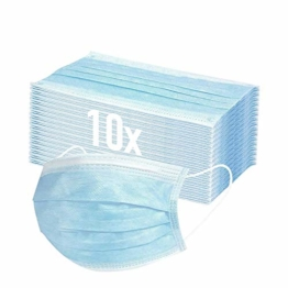 10x Mundschutz Masken medizinische Einweg 3-lagig Gummizug Atemschutzmaske Staubschutz Maske EN14683, Hersteller BOSSN MCCONS @ DECADE Atemmaske Mundschutz Gesichtsmaske - 1