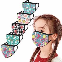 5 Stück Kinder-Mundschutz mit motiv Einfarbig/Cartoon Druck,Waschbar Wiederverwendbar,Baumwolle Stoff Atmungsaktiv,Gesichtsschutz Halstuch Für Jungen Mädchen - 1