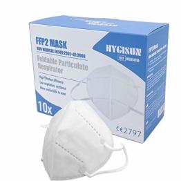 Mund und Nasenschutz [10x] FFP2 Maske medizinisch KN95 DEKRA geprüfte DECADE Mundschutz Maske einweg Atemmaske, KN95 Maske EINZELVERPACKT, Atemschutzmaske ohne Ventil FFP2 Mundschutz medizinisch - 1